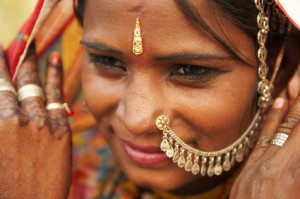 Woman wearing traditional Indian jewelry