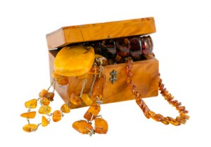 Amber jewelry in a vintage wooden box