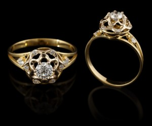 Diamonds in antique jewelry tend to be chipped along the edges as a result of wear.