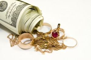 Jewelry and cash