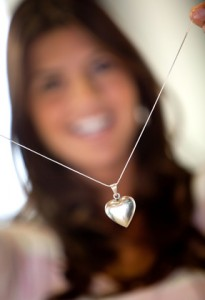 Necklace with a heart shaped pendant