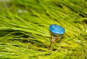 Gold ring with a blue topaz
