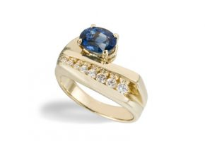 Ring with blue topaz