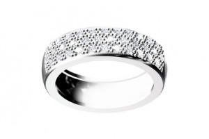 Diamond wedding ring with a pave setting