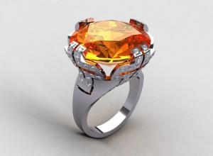 Orange quartz cocktail ring