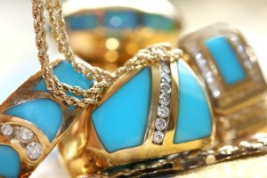 Inlay jewelry with turquoise and diamonds