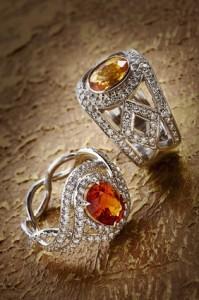 Gemstone rings with diamonds