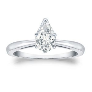 Pear-shaped diamond engagement ring