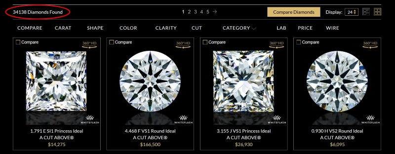 Whiteflash has more than 30,000 diamonds in its selection.