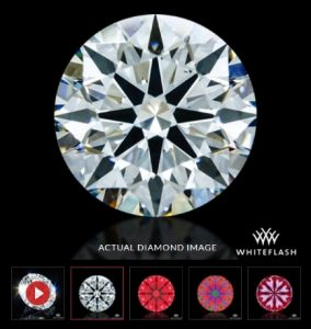 A diamond from Whiteflash with an actual diamond image and a video.