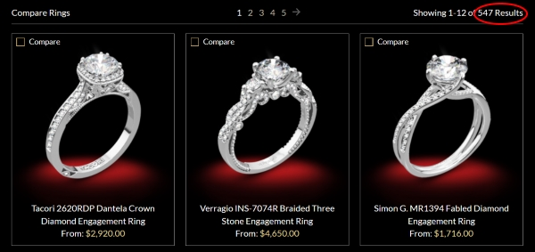 The selection of engagement ring settings at Whiteflash is very extensive.